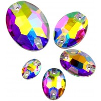 Crystal AB Sewing Rhinestones Oval