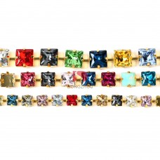 square  rhinestones cup chains
