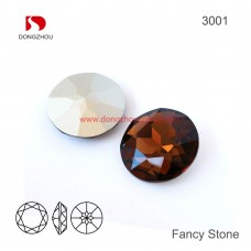 DZ-3001 27 mm Round Shaped Crystal Fancy Stones