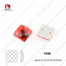 ruby square sew on rhinestones 6*6 mm