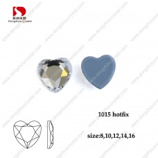 DZ-1015HF flat back hotfix heart crystal rhinestones for clothes