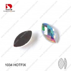 DZ-1034HF navette shape crystal ab color hotfix rhinestones for garment accessories