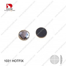 DZ-1031HF round chess cut flat back glass hotfix rhinestones for dresses