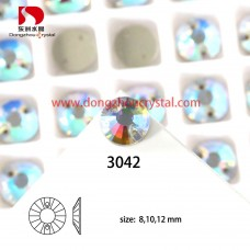DZ 3042  16 MM round shape  crystal sew on stone