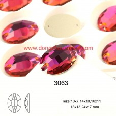 DZ 3063 18X13 MM  oval shape crystal sew on stone
